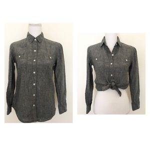 Tommy Bahama 100% Linen Gray Button Down Shirt